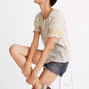 Madewell Smocked Button-Up Top in French Daisies